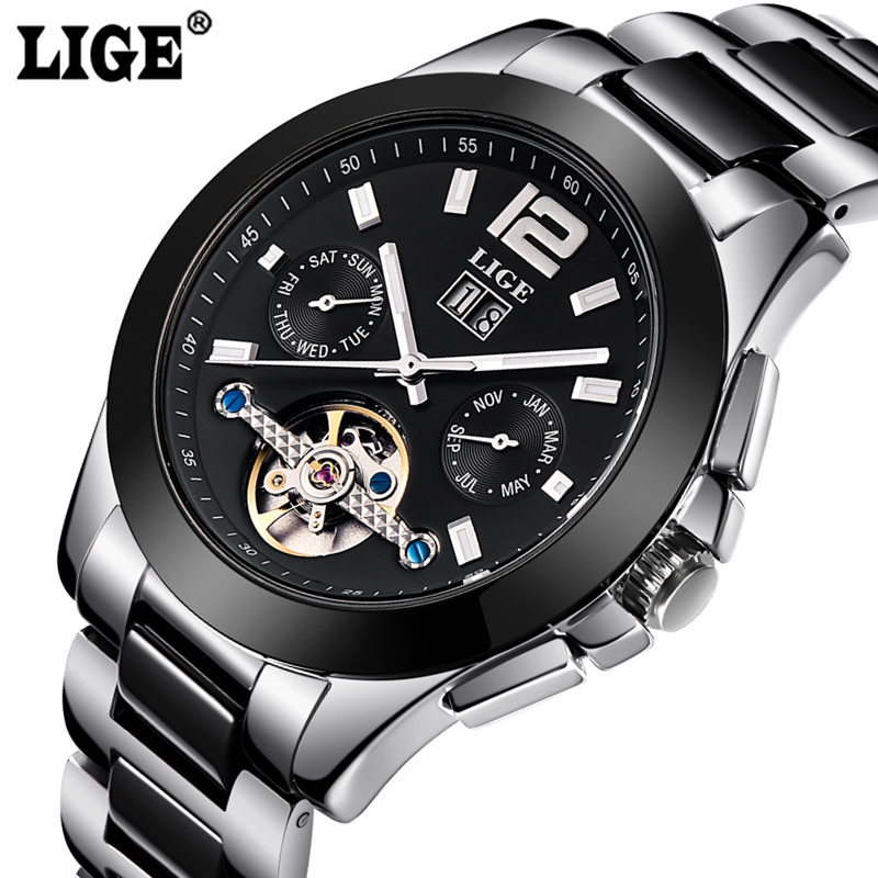 LIGE Watch Men Automatic Mechanical Clock Mens Watches Top Brand Luxury Waterproof Business Male Sport Watches Relogio Masculino forsining automatic tourbillon men watch roman numerals with diamonds mechanical watches relogio automatico masculino mens clock