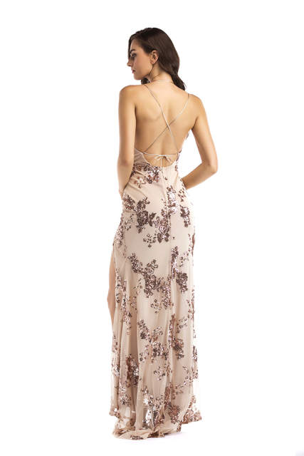 053b0b135 Online Shop Reaqka Sexy Luxury Gold Sequins Maxi Dress Summer 2018 Elegant  Black V Neck Split Club Sleeveless Long Party Dresses Vestidos XL |  Aliexpress ...
