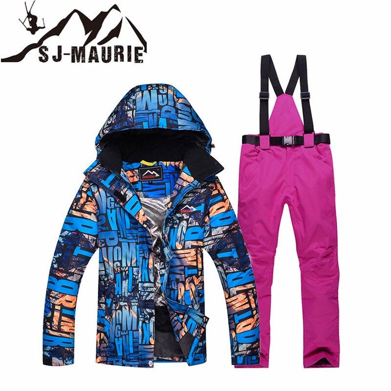SJ-MAURIE Snowboard Ski costume femmes veste de Ski + pantalon en plein air hiver imperméable coupe-vent neige costumes randonnée Ski veste - 5