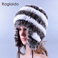 Raglaido Genuine Rabbit Fur Cap With Ears Fur Hat Female Winter Rex Caps Sewing Hats Women