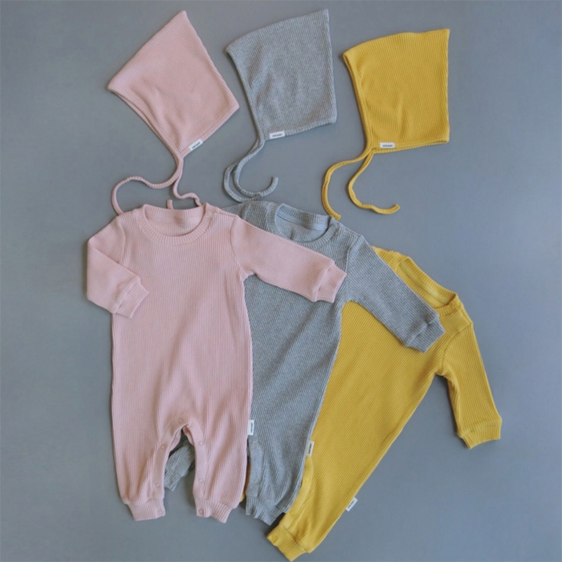 2017 New Babys Girls Rompers With Hat Cute Long Sleeve Cotton Autumn Jumpsuit Solid Baby Clothing