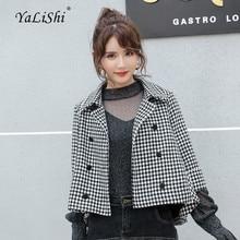 Fashion 2018 Autumn Winter Women Coats Black Full Sleeve Turn-down Collar Vintage Woollen Plaid Coat Modis Casual Outwear