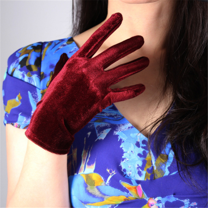 Fashion Velvet Gloves 22cm Short Wine Red Crimson Super Long Female High Elastic Velvet Gold Velvet Touch Screen SRJH22