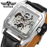 T WINNER Latest Men Automatic Mechanical Wrist Watch Black Leather Band Hollowed Dial Silver Square Case