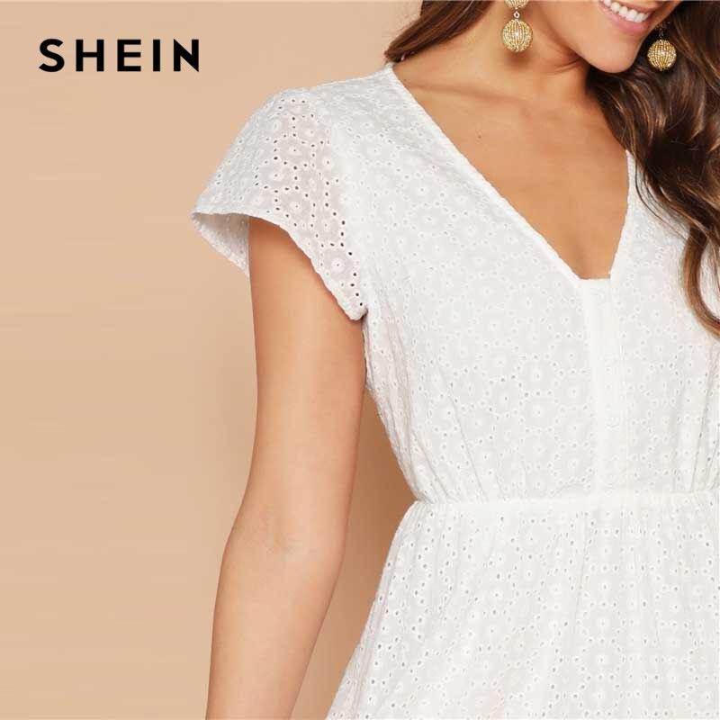 b3dd17f14ef D été V Poitrine Femmes 2019 Shein Bohème Robe Dentelle Blanc Mini Ligne  Unique Une Évasée ...