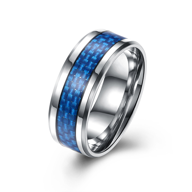 8MM Wide Mens Stainless Steel Classic Blue Color Square Shapes Wedding Band Ring For Boy Girl