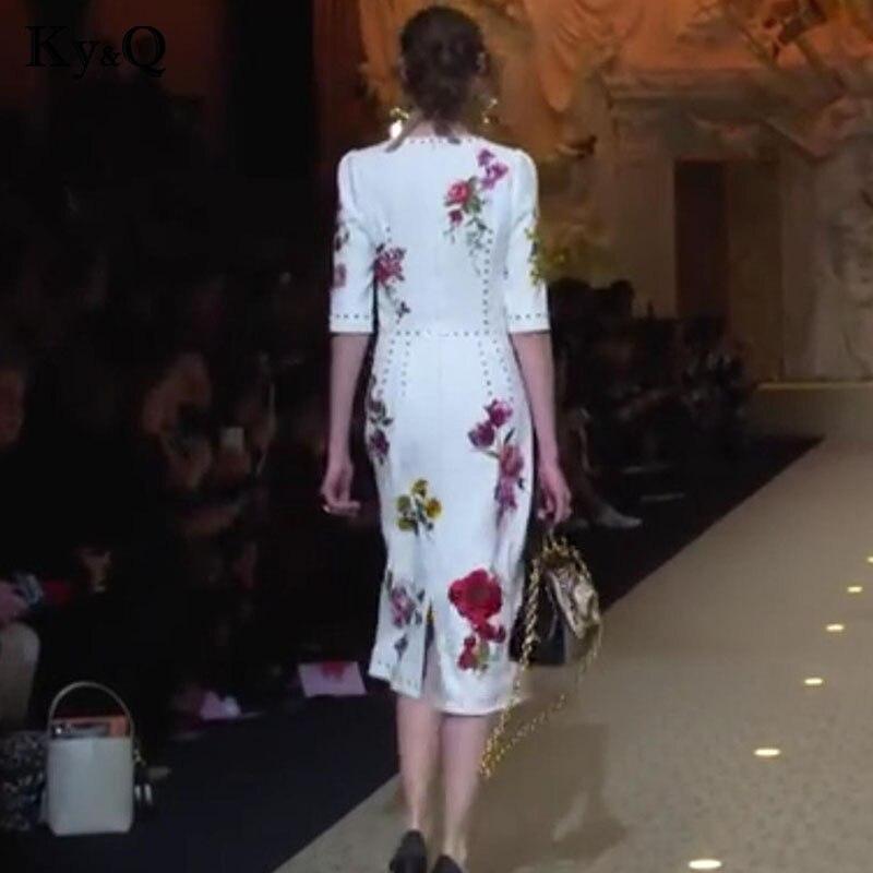 Floral Demi Manches Femmes De Robes Imprimé Perlant Longue Robe Femelle Midi O Blanc Élégant 2018 Eté Cou Soirée Vestidos Vintage z8qEw