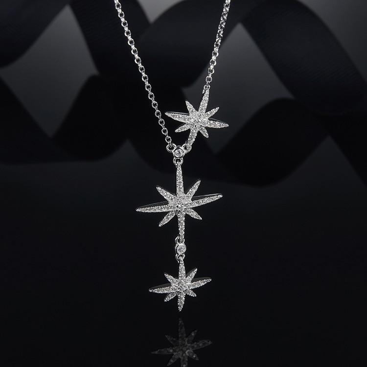 2018 délicat déclaration étoiles pendentif collier femmes solide S925 en argent Sterling colar femini AAA zircon cristal collier femme