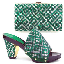 TH16-51  Fashion party setes matching shoes and bag sets Green African pumps shoes and handbag with rhinestones!FREE shipping!