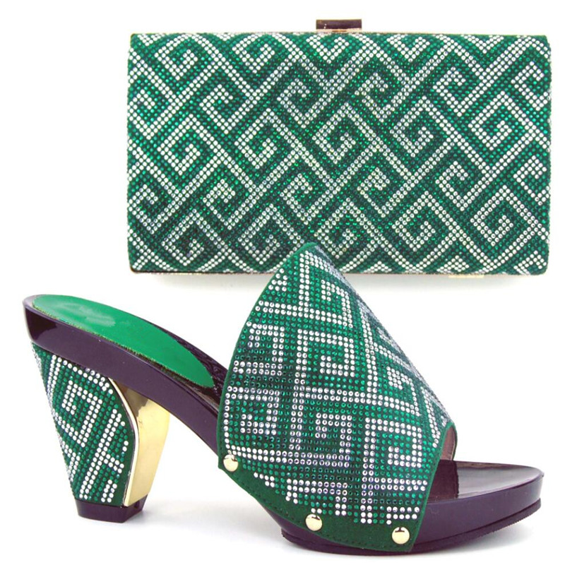 ФОТО TH16-51  Fashion party setes matching shoes and bag sets Green African pumps shoes and handbag with rhinestones!FREE shipping!
