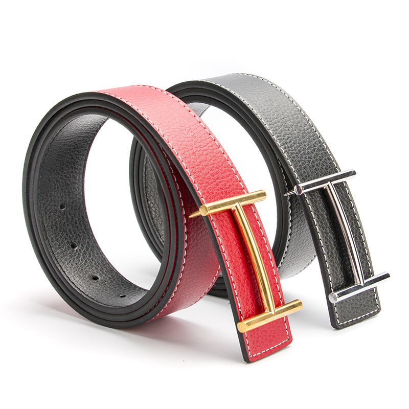 2017 New Arrival Luxury H Brand Designer   Belts   Men High Quality Male Casual Genuine Real Leather H Buckle Strap for Jeans Red
