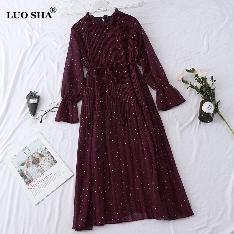 LUOSHA Women 2019 Spring Summer Vintage Stand Collar Polka Dot Flare Sleeve Pleated Loose Casual Dress Female Basic Vestios 1
