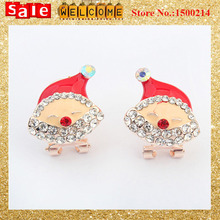 2016 New Fashion Cute Christmas Gift for Women Girl,New Year 18K Crystal Drip Imitation Diamond Santa Whit Hat Clip Earrings