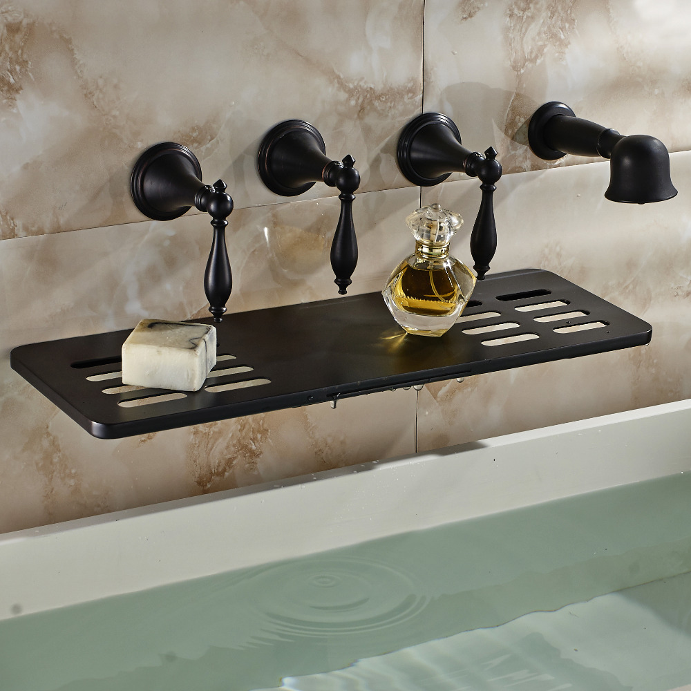 Oil Rubbed Bronze Wall Mounted Bathroom Tub Faucet Waterfall Spout W ...
