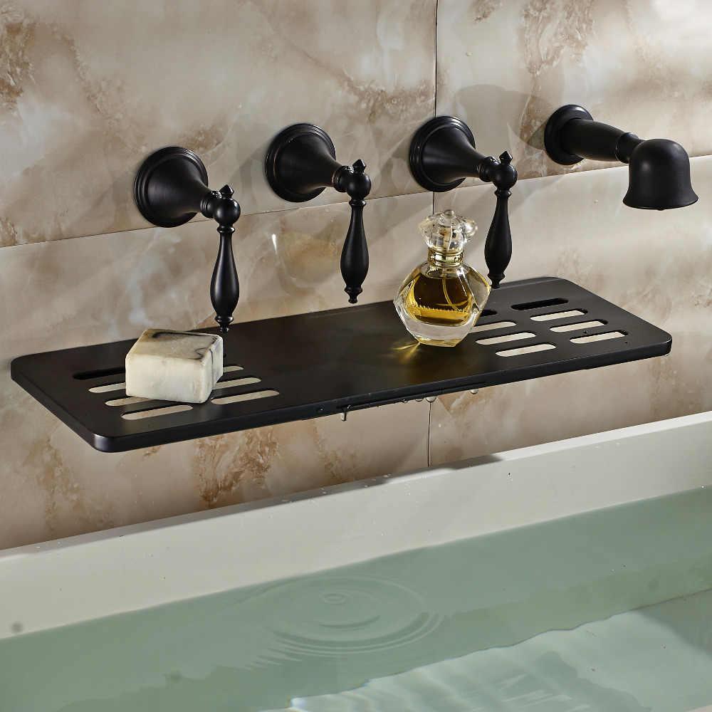 Olej wcierane brąz do montażu na ścianie wanna kran wodospad wylewka W/mydelniczka ręcznie spryskiwacz prysznicowy