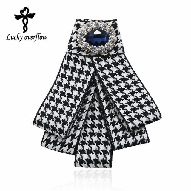 Ручной классический Винтаж бантом из ленты заявление броши булавки кристалл для Для женщин шеи галстук-бабочка клипы ювелирных изделий рубашка аксессуары