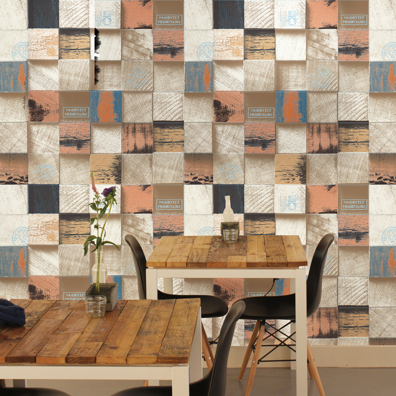 Купить с кэшбэком Vintage Rustic 3D Wood Wallpapers Home Decor Industrialized Grid Wall Paper Roll for Shop Walls Papel Murals vinilos pared