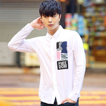 Autumn male long-sleeve shirt slim teenage shirts clothes the trend of casual men's clothing shirt