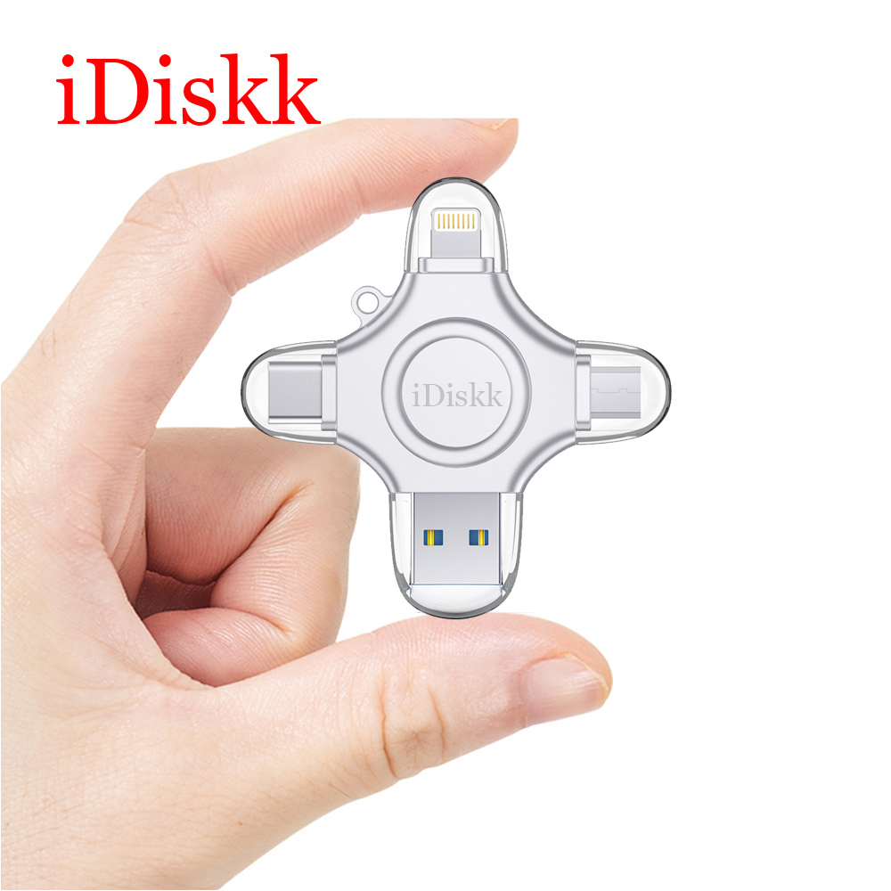 iDiskk USB Flash Drive 64GB Fingerprint Unlock High Speed Memory Stick Encryption 4 in 1 USB 3.0 for Phone/Tablet/PC Pendrive все цены
