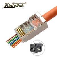 Xintylink EZ rj45 conector cat6 ethernet rj 45 conector de cable rg45 cat5 cat5e 8p8c red stp cat 6 jack blindado conector 50 100