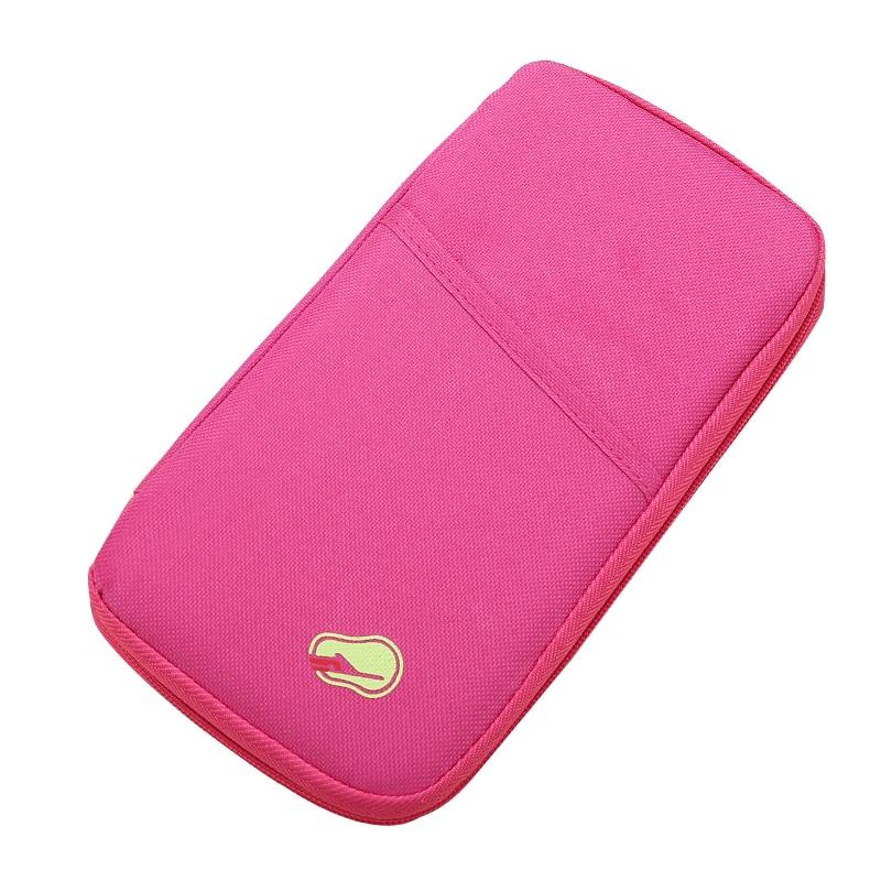 Fashion Polyester Travel Passport Wallet Zipper Travel Organiser Passport Holder Wallet Document Bag