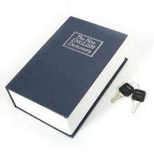 New Safety Money Cash Box Blue English Dictionary Design Mini Safety Storage Box with Lock Valuables Safety Storage Box