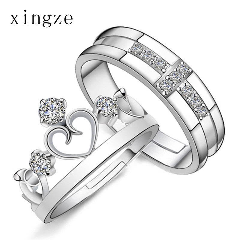 High quality silver plated couple rings zircon crown princess and prince silver plated couple rings fine jewelry wholesale