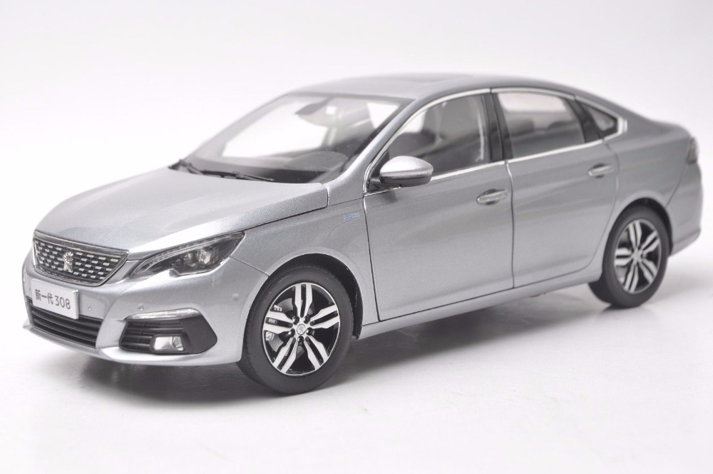 1:18 Diecast Model for Peugeot 308 2016 Gray Sedan Alloy Toy Car Miniature Collection Gift 1 43 peugeot 208 gti mini alloy model diecast cars toy vehicles limited edition craft messenger car