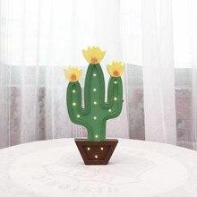 Cactus Decoration light Wood Modeling lampWarm white Battery Powered LED Night lamp Babyroom Decor lamp IY304123-40