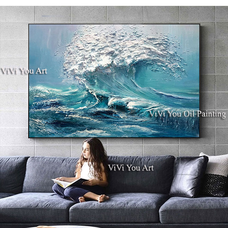 Image 4 - Large size Handpainted WALL Painting waves sea ocean stock wall 