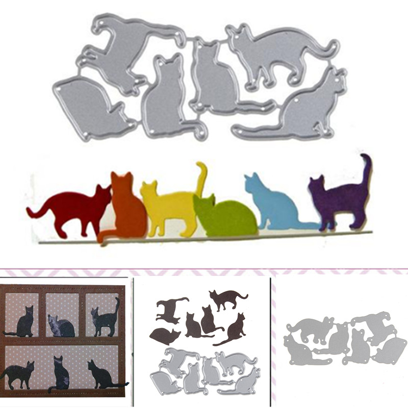 Gowing 6Pcs/set Cute Cat Stitched Metal Cutting Dies Stencil Scrapbook Album Embossing For Diy Card Making Handcrafts