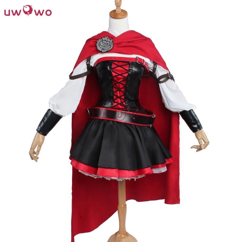 UWOWO Ruby Rose RWBY Cosplay 3 Season Red Dress Cloak Battle Uniform Costume Anime RWBY Ruby Rose Cosplay Costume Women
