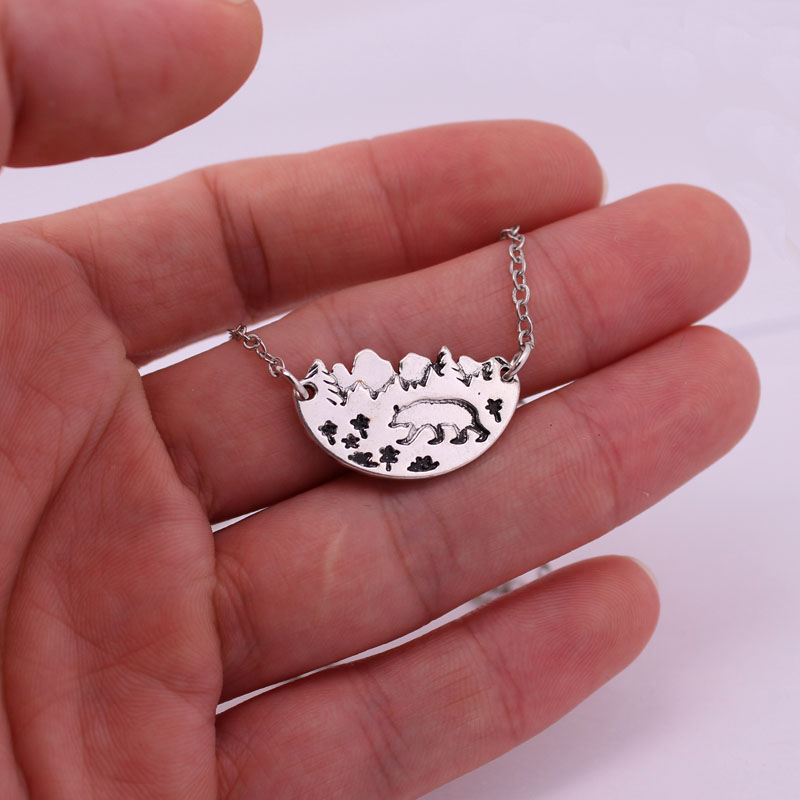 hzew mountai range bear trees flowers forest pendant necklace nature enthusiast gift in Chain Necklaces from Jewelry Accessories