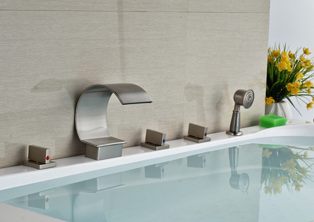 Brushed Nickel Faucet Waterfall Bathroom Spout Sink One: Brushed Nickel Arc Waterfall Spout Handheld Shower Tub