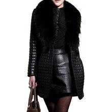Hot Faux Fur Leather Coats Women's Winter Jacket Fashion Female PU Fur Patchwork Jackets Faux Fox Fur Collar Fur Top Outerwear