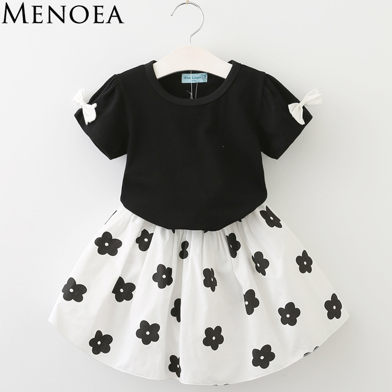 2017 Brand New Fashion Summer Kids Girls Clothes Set Black Bowknot Short T-shirt +Flowers Ball Gown Dress 2pcs Clothing Sets 2017 new style fashion mom and girls short sleeve letter t shirt dot black skirt set summer kids casual clothes parenting 17f222