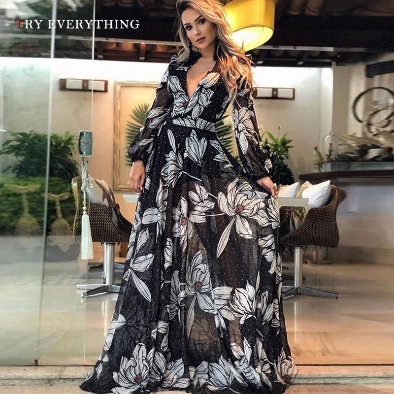 Floral Boho Dress Summer 2019 Woman Long Sleeve Black Sexy Dress Chiffon Print V Neck Floor Length Ladies Long Dresses Summer in Dresses from Women 39 s Clothing