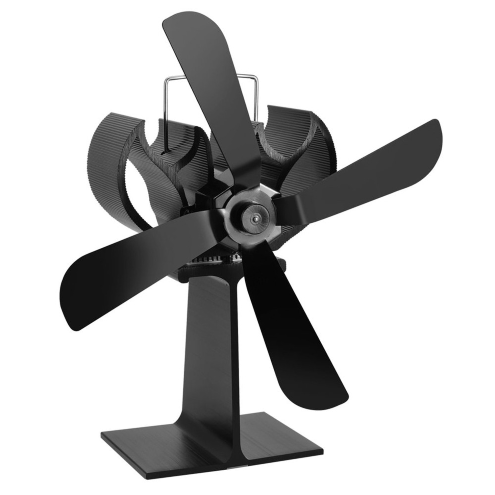 Black Heat Powered 4 Blades Stove Fan Log Fireplace Wood Burner Eco Ultra Quiet Blower No Battery or Electricity heat powered stove top fan stove for wood log burner fireplace eco friendly 17