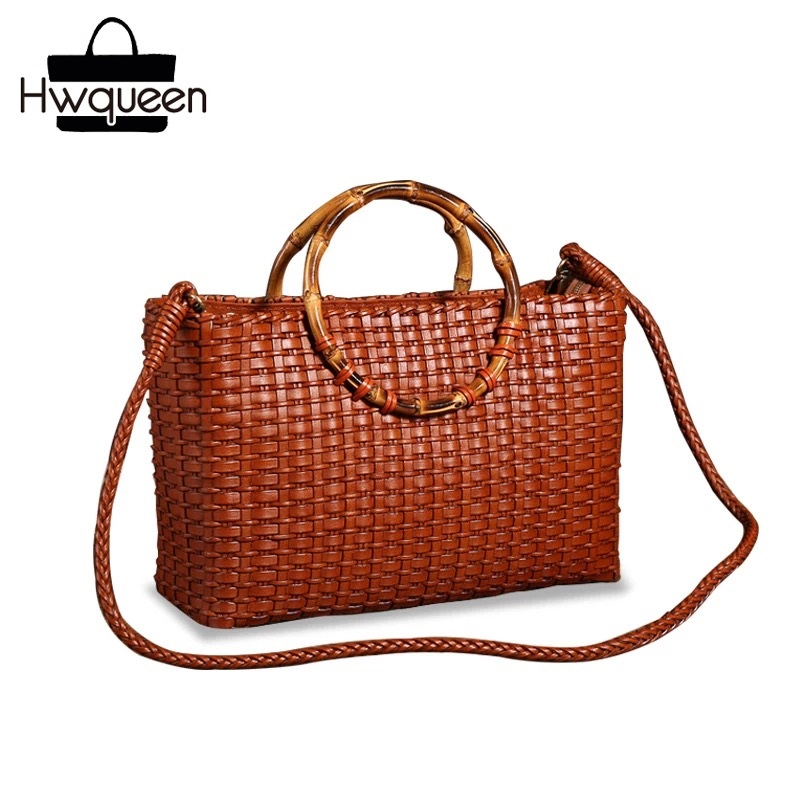Hand knitted Designer Genuine Leather Bamboo Joint Handle Totes Vintage Women s Handbag Cowhide Female Ladies