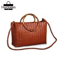 Hand knitted Designer Genuine Leather Bamboo Joint Handle Totes Vintage Women's Handbag Cowhide Female Ladies Large Shoulder Bag