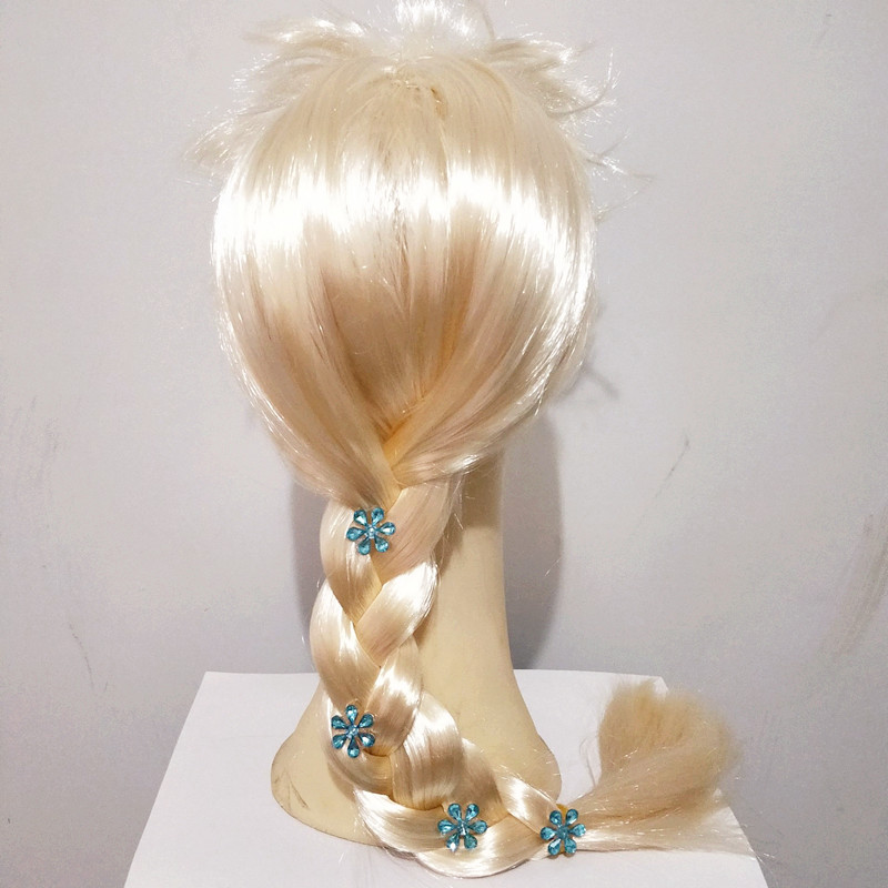 Girls Blonde Long Braided Elsa Anna Cosplays Peluca Headwear Halloween Costumes For Women Carnival Purim Masquerade Party Dress
