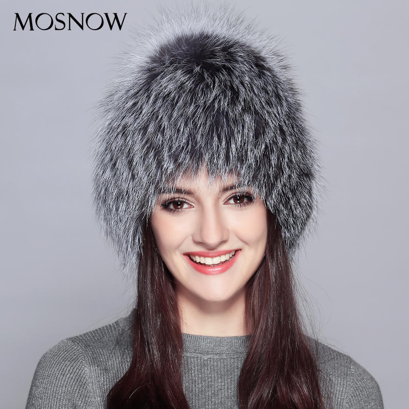 MOSNOW Woman Winter Hats 100% Real Silver Fox Fur New 2017 Fashion Warm Winter Wool Knitted Hat Female Skullies Beanies #PCM727 winter hat direct selling man and woman 2017 new fashion warm wool knitted hat korean style winter skullies