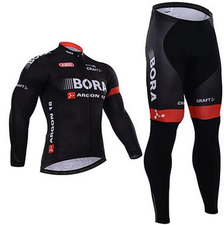 2018 New BORA Mens Spring/Autumn Long Sleeve Pro Cycling Jersey Set Team Bike Clothes Ropa Maillot Ciclismo with 9D Gel Pad