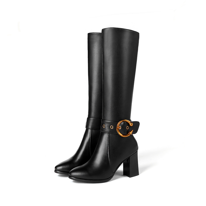 La Isnom Hasta Para Talla Con Goma 45 Mujer Cuero Negro Cremallera Calzado 2018 Rodilla De Cálidos 32 Nuevos Invierno Zapatos Alto Botas Vaca Grande Tacón q8PAxYAzw
