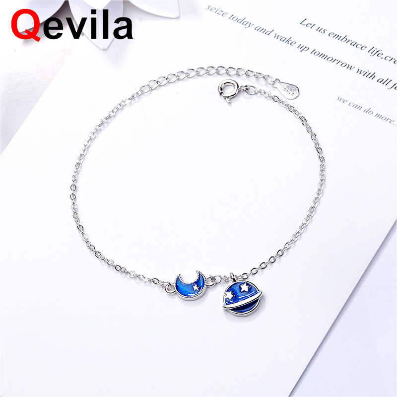 Qevila New Plated 925 Silver Van Gogh's Enamel Silver Bracelets Glitter Deer Sky Moon Star Chain Bracelet for Women Gift Jewelry
