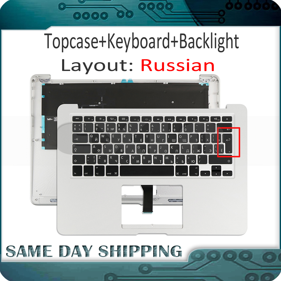 New for Macbook Air 13'' A1466 Russian RU (Small&Big Enter Key) Top Case Topcase w/ Keyboard+Backlight 2013 2014 2015 Year new for macbook air 13 13 3 a1466 top case topcase with keyboard us usa english version backlight 2013 2014 2015 years