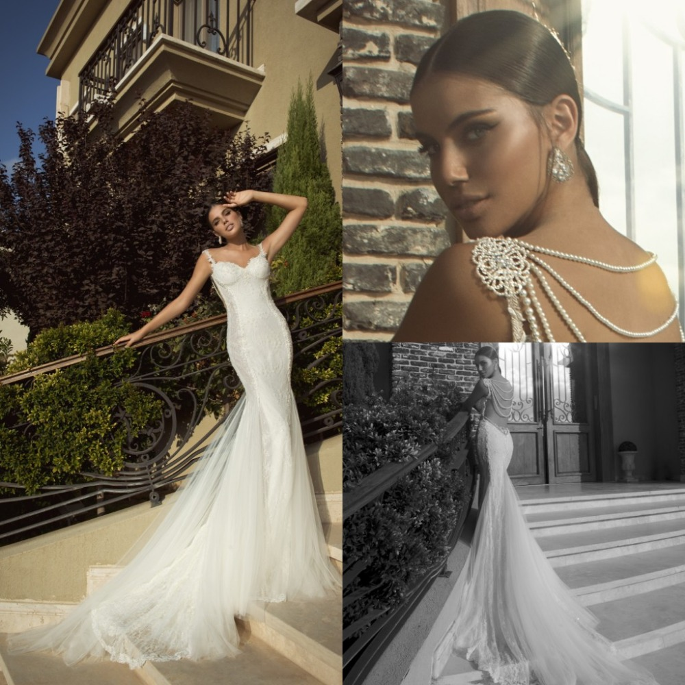 2014 lace mermaid backless wedding dresses galia lahav for Lace wedding dress with pearls