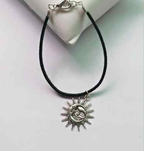 L 21 1 шт новый список мода сплав сердце Геометрическая Луна солнце сердце кулон черный плюшевый веревочный браслет унисекс Прямая продажа с фабрики