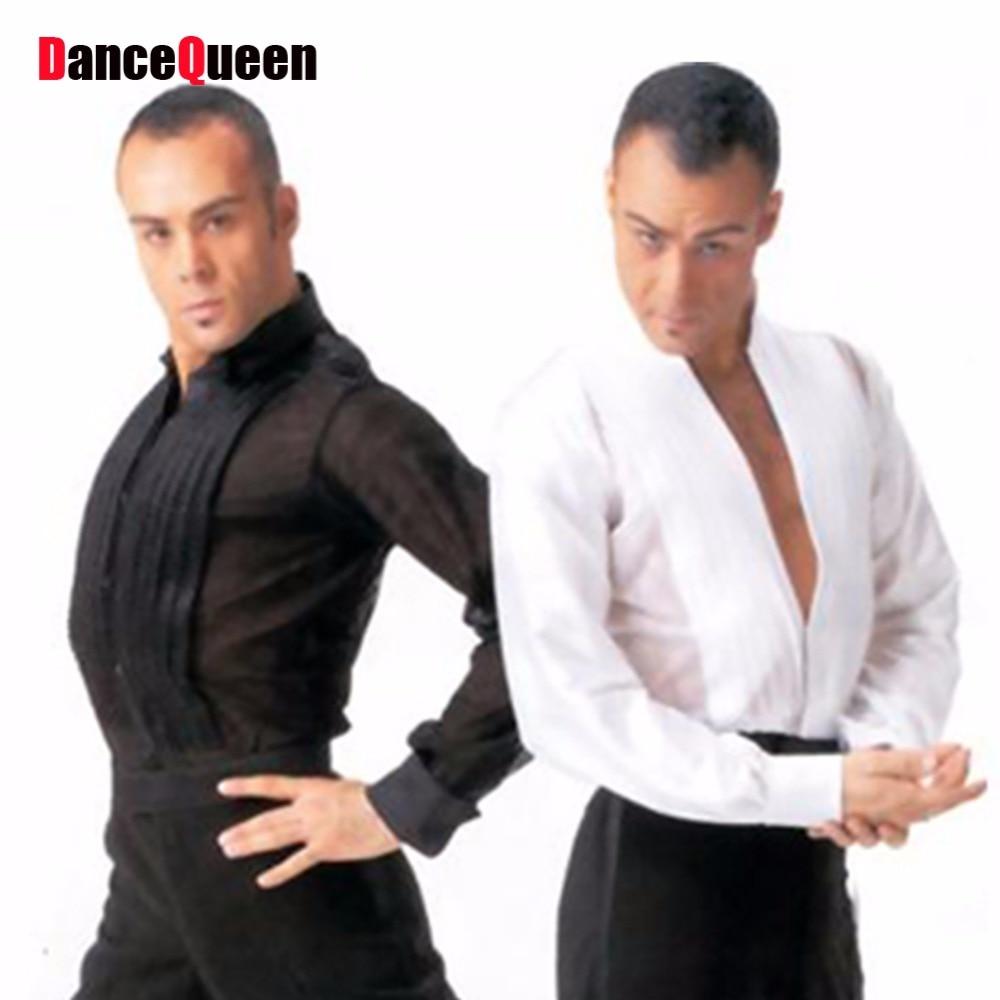 Free Shipping Latin Dance Tops For Males White Black Silk Satin Shirt Wears Men Bollywood Paso Professional Ballroom Jacket 6076