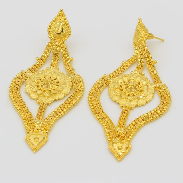 African Jewelry Set High Quality Gold Color Necklace Earrings Set Luxury Arab Dubai Wedding Party MOM/Girlfriend Gifts